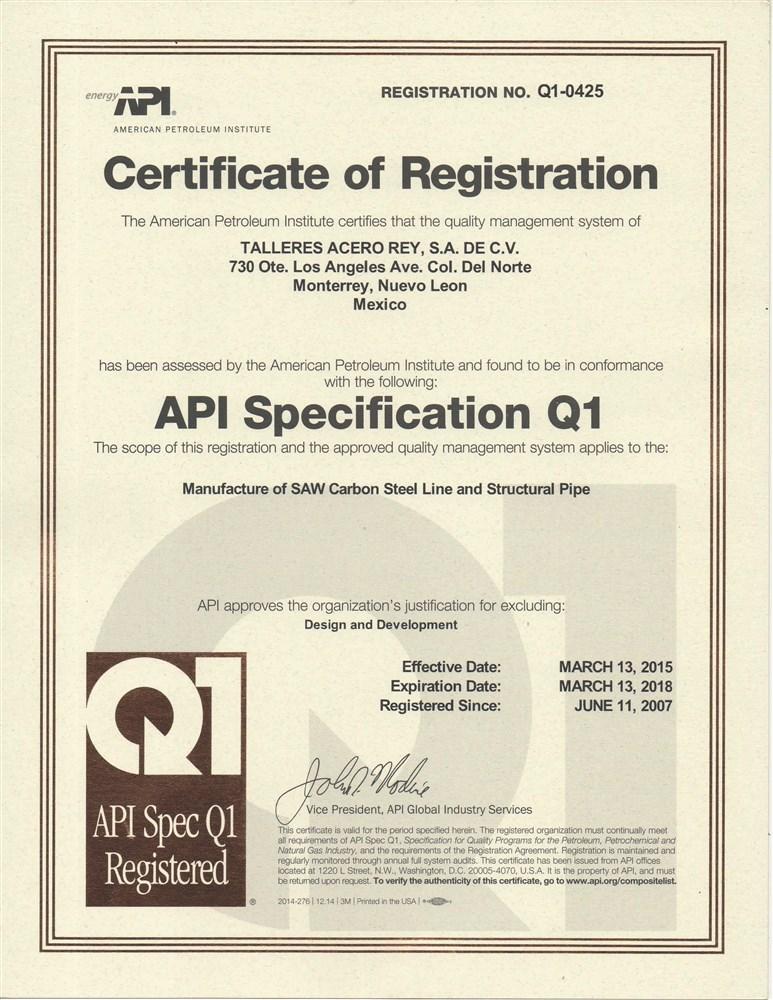 Certificacion API Q1 9a ed - Audit API 2014 (No 55040)